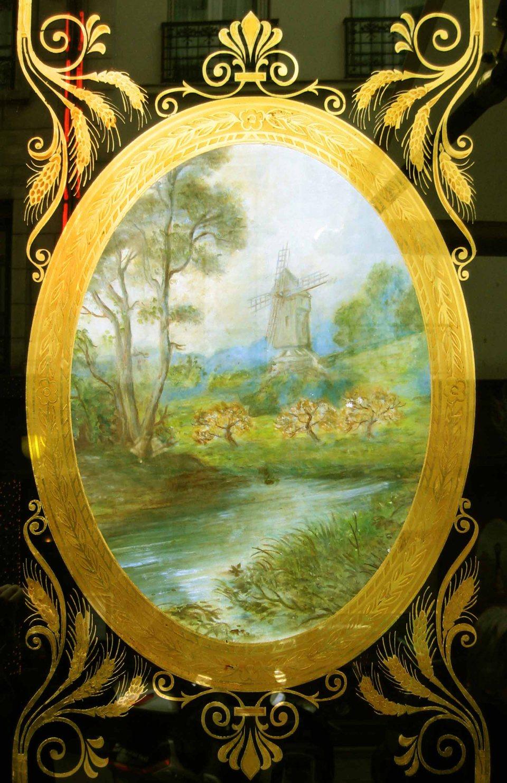 Panneau décoratif feuille d'or moulin à vent