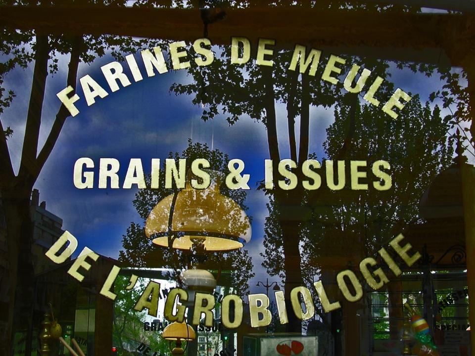 Textes en Or sur vitrine farine et grain
