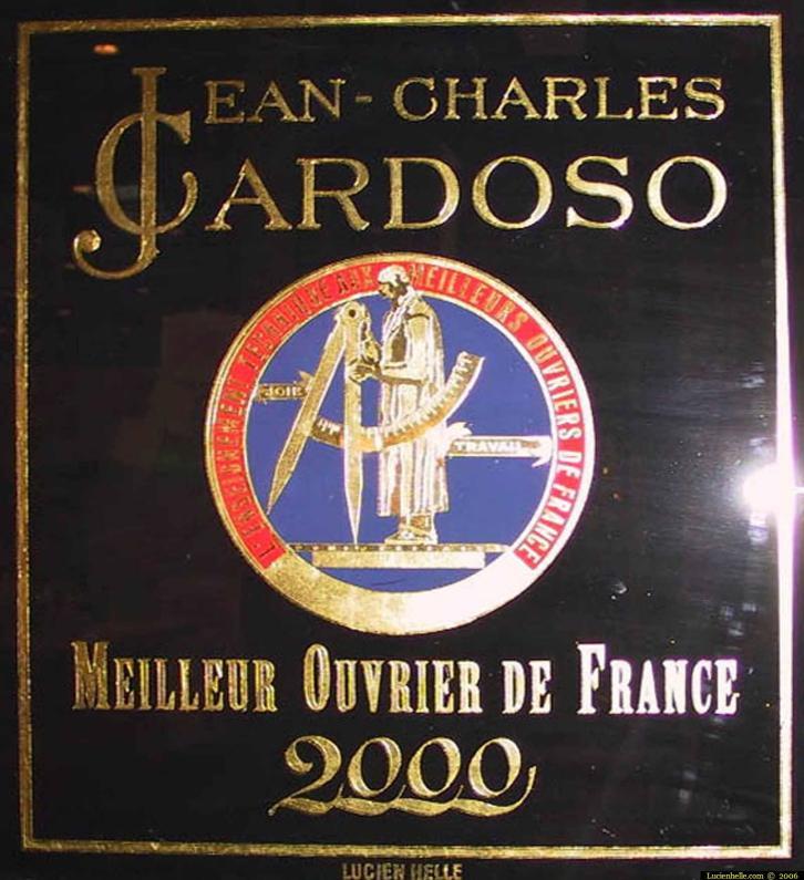 cardoso logo MOF meilleur ouvrier de france enseigne feuille d'or 24 carats