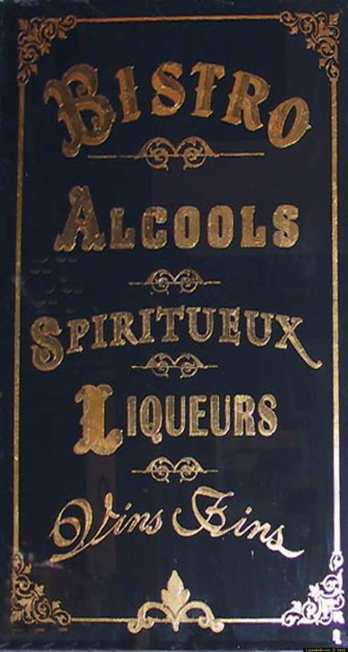enseigne bistro alcools spiritueux liqueurs