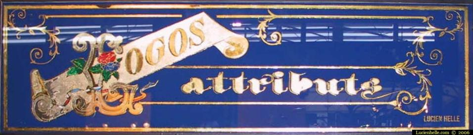 fixé sous verre Logos attributs
