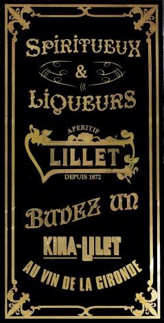 """Café Bellini : panneau décoratif """"spiritueux-liqueurs Apéritif Lillet"""