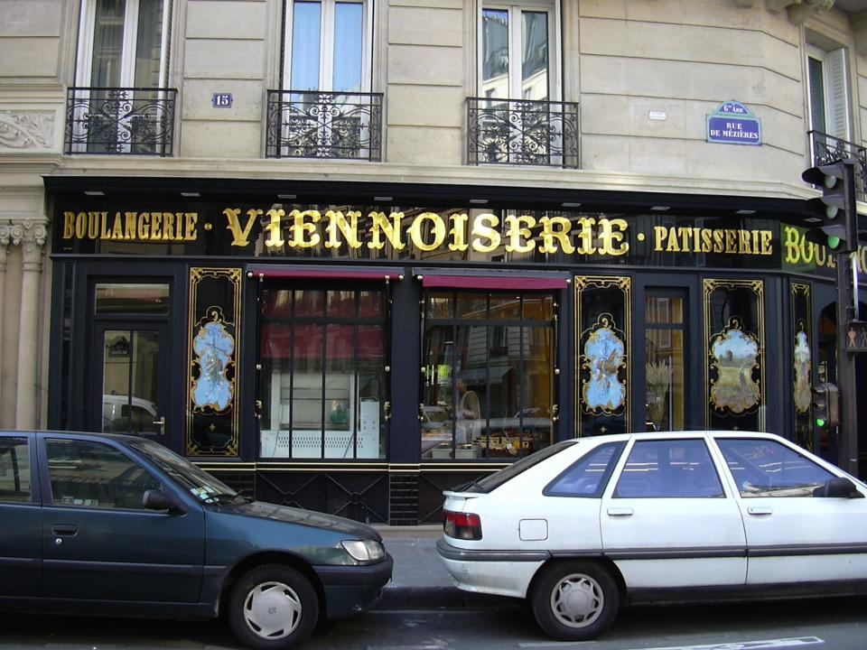 """Enseigne Bandeau """"Boulangerie - Viennoiserie - Patisserie"""" rue de Rennes Paris"""