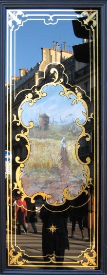 """Boulangerie 81 rue de Rennes Paris : Panneau décoratif avec toile peinte """"champ de blé et moulin à vent"""""""