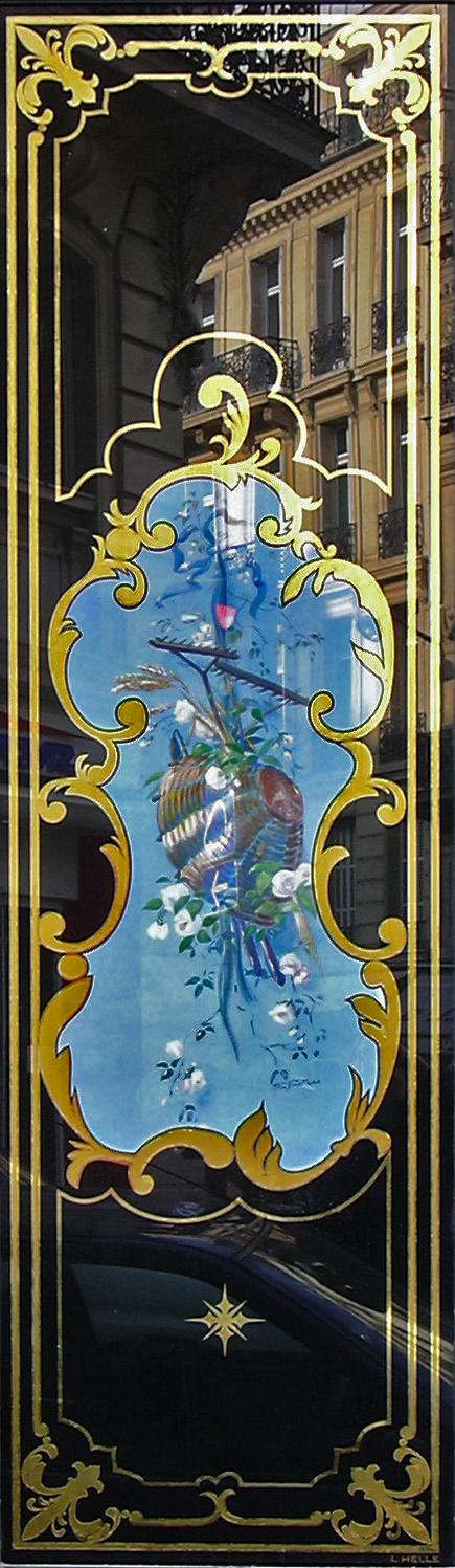 Boulangerie 81 rue de Rennes Paris : Panneau décoratif avec toile peinte pains et fleurs